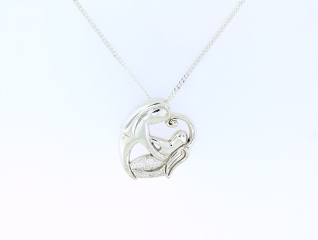 Mother and Baby Angel - Mother holding baby angel pendant. Set with 3 small diamonds. Available in silver, yellow gold and white gold.