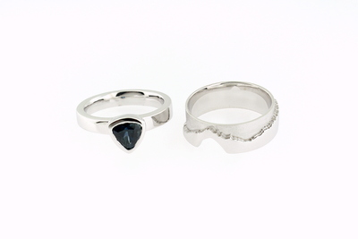 14K White Gold Mountain Rings - Designed by Suzanne Spisani, this set features a sapphire ring set which fits into the band inspired by the Tantalus Mountain Range in B.C.