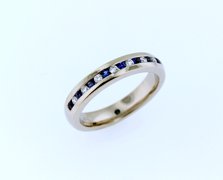 14K Palladium White Gold - Channel set band with blue sapphires and diamonds