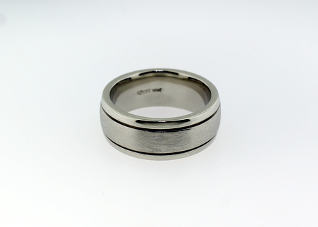 White gold gents band - Heavy white old band with brushed centre