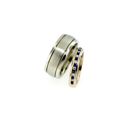 Wedding band set - 14K white gold channel set, 10K white gold gents' band