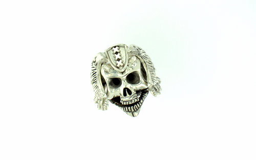 Custom Hand Carved Skull Ring - 44 gram sterling silver custom made skull ring