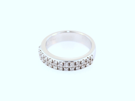 Diamond encrusted wedding band - 19K white gold with two rows of round brilliant cut diamonds