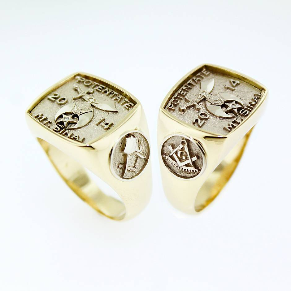 Masonic signet - Custom Shriners ring in 14k yellow gold