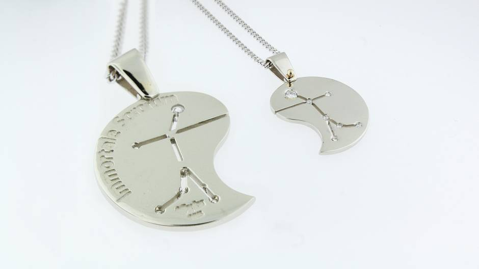 Gemini pendants - - 10k white gold pendants for a set of twins. Diamonds surface set in the star points of constellation.