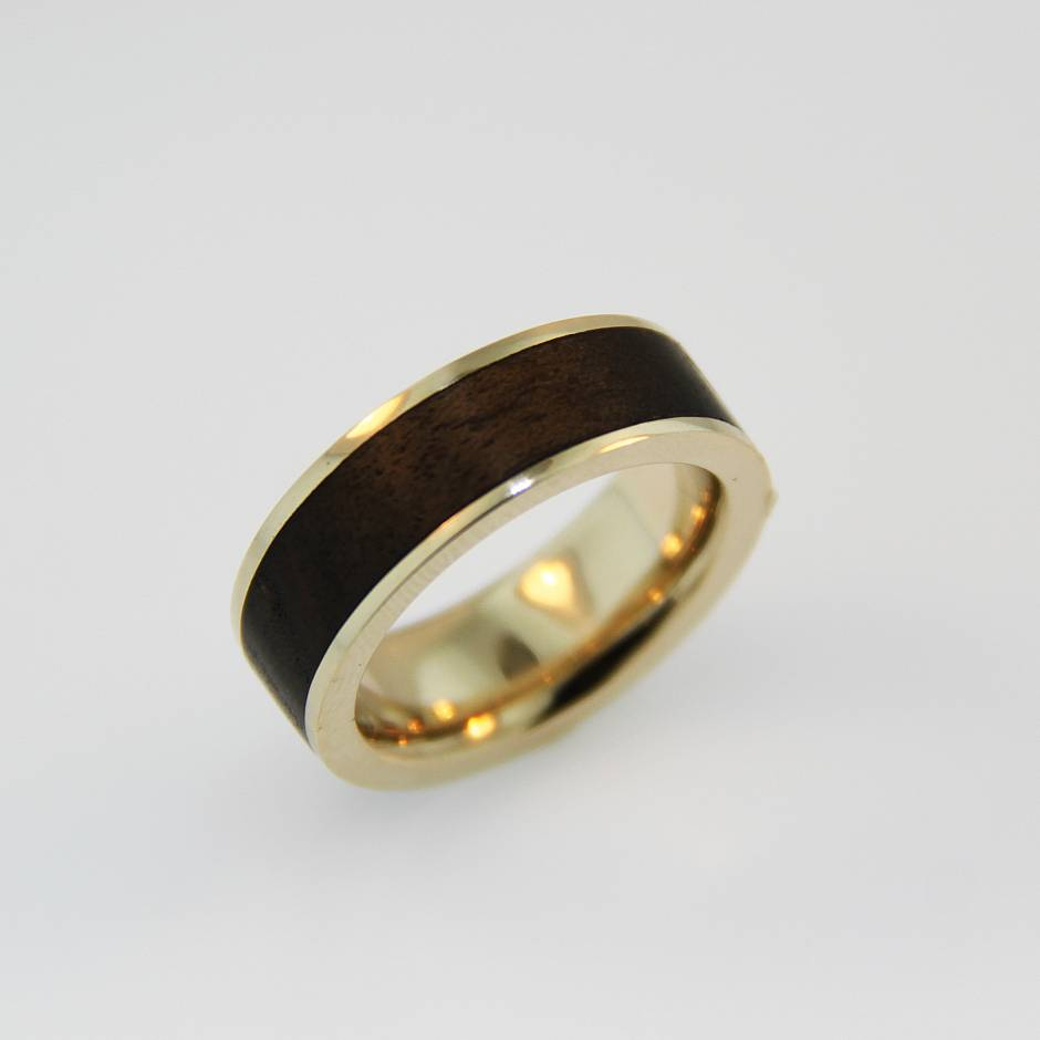 14k yellow wedding band - with Russian olive wood inlay.