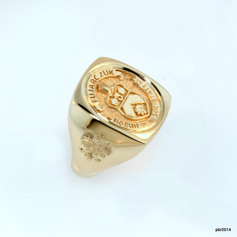 Gent's Family Crest Ring 2 - A family crest I developed from pictures provided. I then used it to create this bold 10K yellow gold ring.