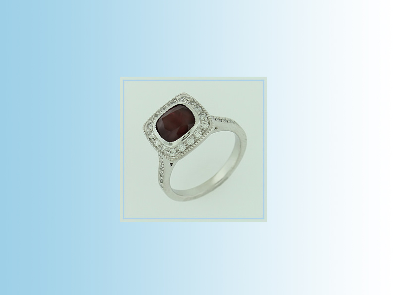 Ruby and Diamond Halo ENG0122 - 14K white gold set with a natural cushion cut Ruby and diamond accents.