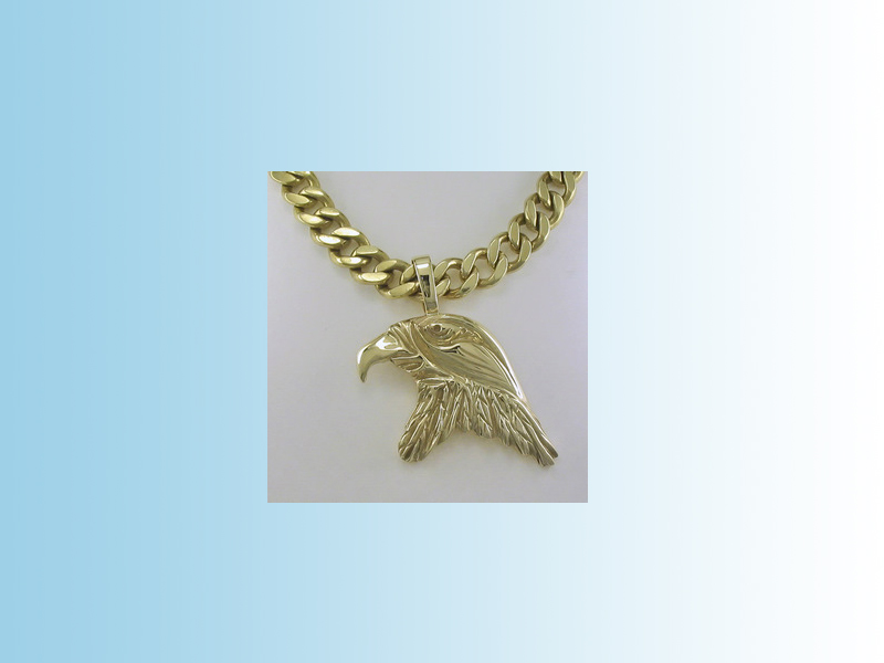 Eagle head pendant - Hand crafted in 10K yellow gold