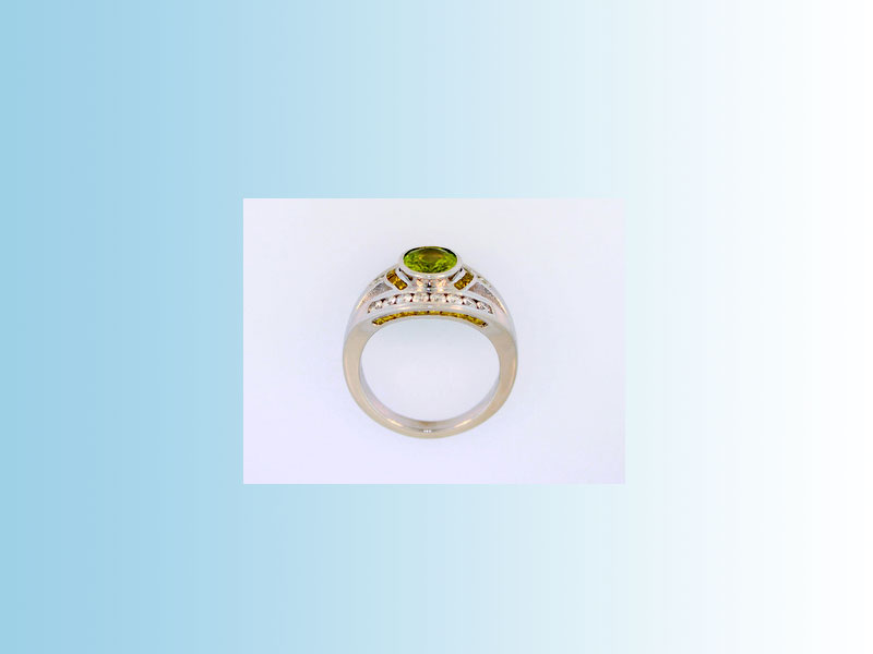 14K White Gold Sphene Ring BGS005 - Split shank design set with round brilliant white diamonds, princess cut yellow diamonds and an oval green sphene in a full bezel. Created for BLUSH JEWELLERY in Victoria, British Columbia. Contact us for more info.