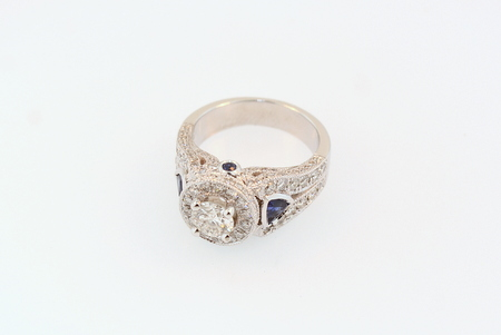 Diamond and Sapphire Halo Ring - 18K white gold