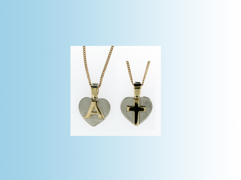 Initialised heart pendant - Front and rear view of a combination heart and cross pendant with a personalized initial