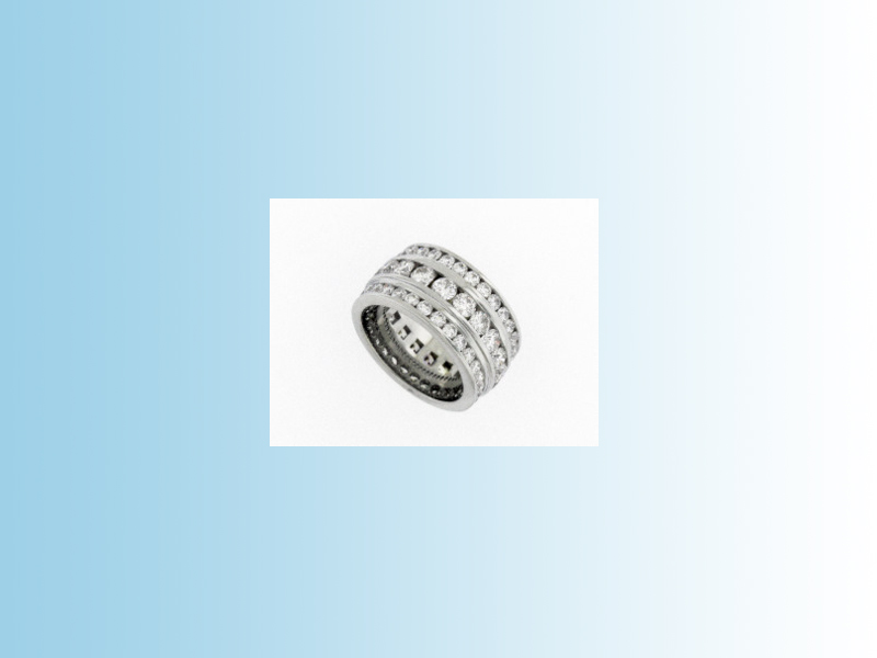 Diamond eternity band - 5ct+ Total weigh in diamonds set in three full eternity bands. 19K white gold.