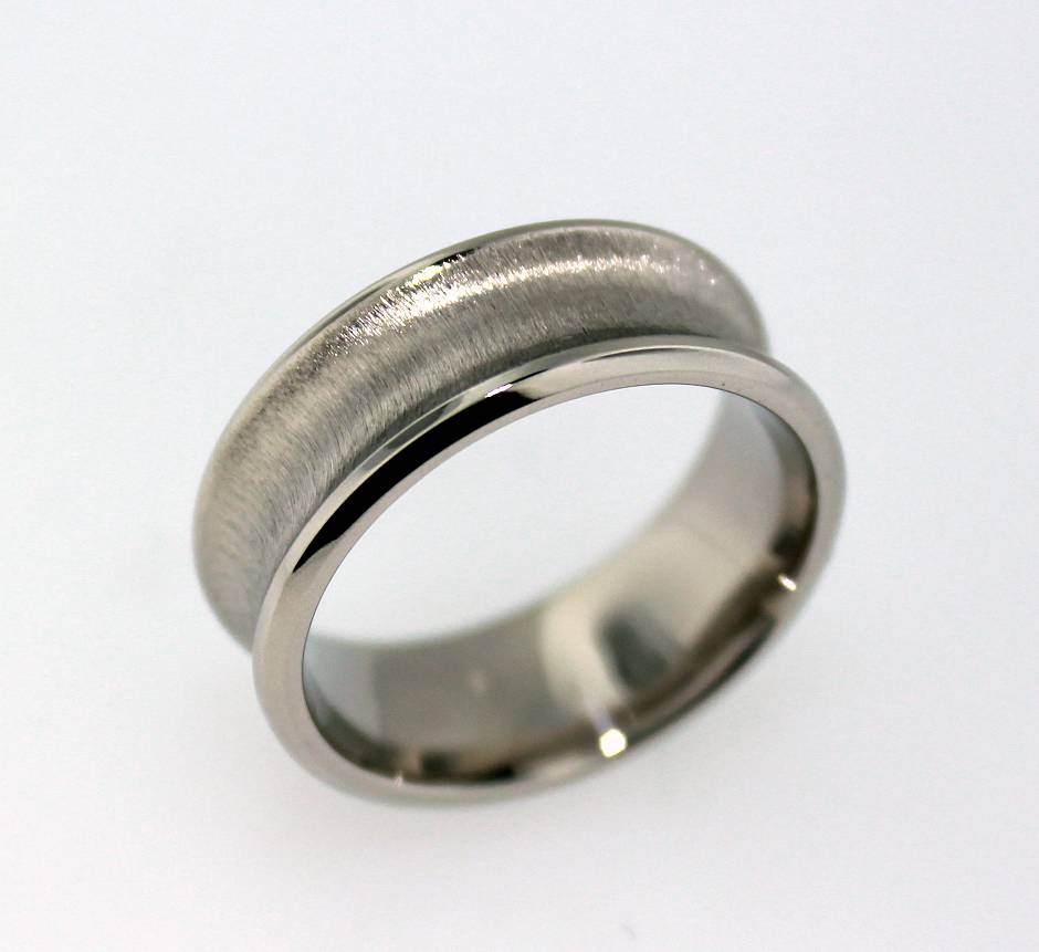 Concave lateral Brushed Band - Pictured here in 10K white gold with a comfort fit as per PBR Designs standard gents' wedding band protocol. The brushed application is deep and robust which will wear for a long time.