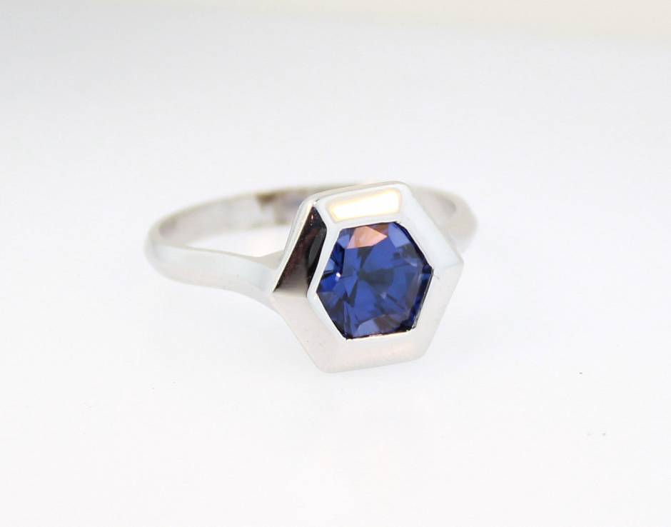 Hexagonal Blue Sapphire  - Set in 14K as pictured, this sapphire comes in the choice of blue and tangerine orange. It can also be manufactured with your choice of metal.