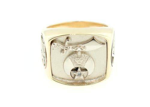 Shriner's Potentate Ring - 36 gram solid white and yellow gold ring for the 2013 Potentate of Tunis Shriners